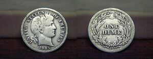 1907 D BARBER LIBERTY HEAD SILVER DIME 1907D US COIN