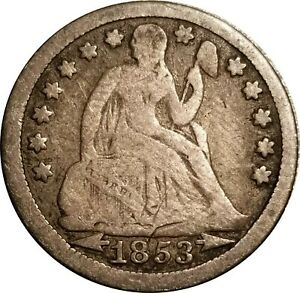 1853 WITH ARROWS SEATED LIBERTY SILVER DIME GOOD TO VG STRIKE THRU ERROR OBV.
