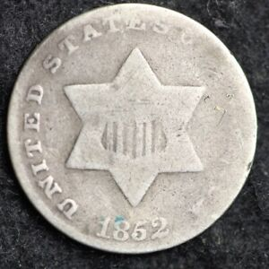 1852 THREE CENT SILVER PIECE CHOICE  E175 JCT