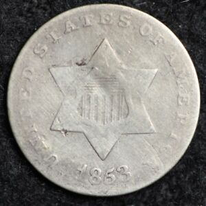 1853 THREE CENT SILVER PIECE CHOICE  E179 ACI
