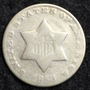 1853 THREE CENT SILVER PIECE CHOICE  E181 RCT