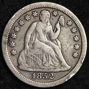 1852 SEATED LIBERTY DIME CHOICE VF  E239 ACM