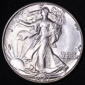 1947 D WALKING LIBERTY HALF DOLLAR CHOICE BU  E741 UCP