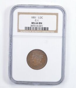 MS64 BN 1851 BRAIDED HAIR HALF CENT   C 1   GRADED NGC  1385
