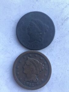 5 COIN LSRGE CENT LOT 1817 1845 1851 1851 1853