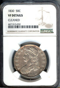 1830 BUST SILVER 50C   NGC VF DETAILS CLEANED  LOOKS LIKE AN XF