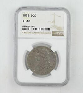 XF40 1834 CAPPED BUST HALF DOLLAR   NGC GRADED  0226