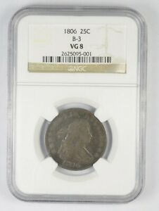 VG8 1806 DRAPED BUST QUARTER   B 3   GRADED NGC  8792