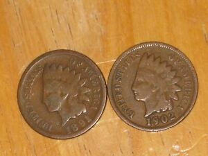 US 1891 AND 1902 INDIAN HEAD SMALL CENT COIN LOT