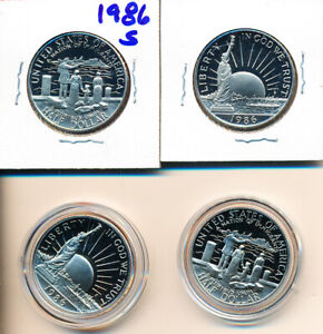 STATUE OF LIBERTY    COMMEMORATIVE HAVES 1986   PROOFS  4 COINS    D