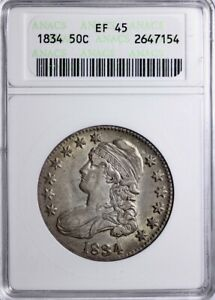 1834 REPUNCHED DATE CAPPED BUST HALF DOLLAR ANACS EF45   B2 KCEM