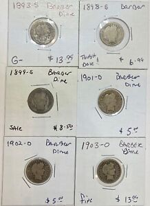 LOT OF 6 BARBER LIBERTY SILVER DIMES 1893 S 1898 S 1899 S 1901 D 1902 D 1903 O