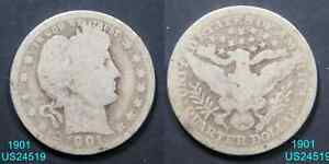 1901 BARBER QUARTER CIRCULATED 90  SILVER COIN  IN UNITED STATES