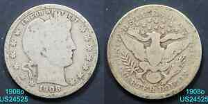 1908 O BARBER QUARTER CIRCULATED 90  SILVER NEW ORLEANS MINT  IN US