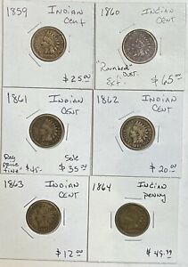LOT OF 6 INDIAN HEAD ONE CENT PENNY 1C 1859 1860 1861 1862 1863 1864