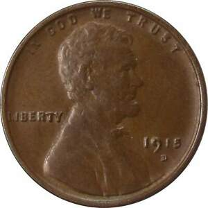 1915 D 1C LINCOLN WHEAT CENT PENNY US COIN AU ABOUT UNCIRCULATED