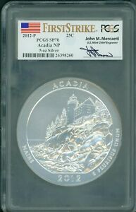 Click now to see the BUY IT NOW Price! 2012 P ACADIA AMERICA BEAUTIFUL ATB 5 OZ SILVER PCGS SP70 MERCANTI FIRST STRIKE