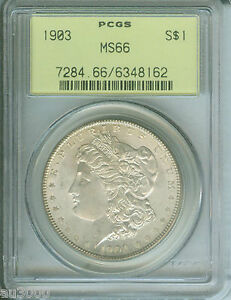 1903 1903 P MORGAN SILVER DOLLAR S$1 PCGS MS66 MS 66 OLD GREEN HOLDER OGH