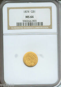 1874 G$1 TYPE 3 GOLD DOLLAR NGC MS66 $1 MS 66