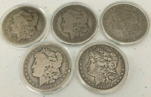 LOT OF 5 MORGAN SILVER DOLLARS 90  SILVER  1889 O 1897 O 1899 O 1900 O 1901 O