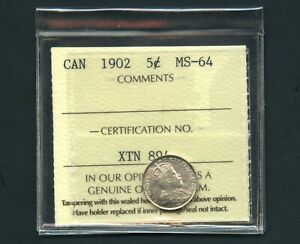 1902 CANADA 5 CENT SILVER COIN MS 64 ICCS  XTN 894