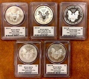 2011 25TH ANNIVERSARY SILVER EAGLE SET MS/PR 70 FIRST STRIKE PCGS MERCANTI SIG.