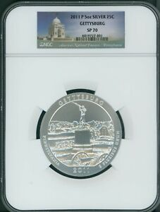 Click now to see the BUY IT NOW Price! 2011 P GETTYSBURG NP 25C AMERICA THE BEAUTIFUL ATB 5 OZ. SILVER NGC SP70