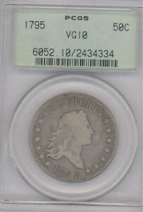 1795 PCGS VG10 50C FLOWING HAIR EARLY HALF DOLLAR  COIN OLD GREEN HOLDER