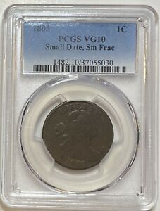1803 DRAPED BUST LARGE CENT 1C PCGS VG10 SMALL DATE SMALL FRACTION