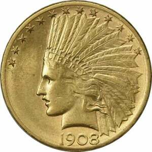 1908 D $10 GOLD INDIAN MOTTO AU UNCERTIFIED