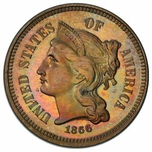 Click now to see the BUY IT NOW Price! 1866 3C THREE CENT NICKEL PCGS PR67