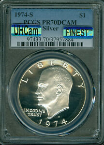 Click now to see the BUY IT NOW Price! 1974 S EISENHOWER SILVER DOLLAR PCGS PCGS PR 70 UHCAM  MAC FINEST & SPOTLESS