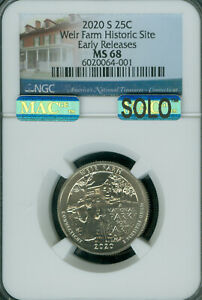 Click now to see the BUY IT NOW Price! 2020 S WEIR FARM QUARTER NGC MS 68 MAC SOLO FINEST MAC SPOTLESS