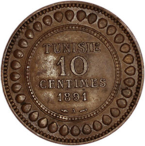 TUNISIA COIN 10 CENTIMES 1891 A VF