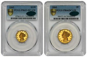 Click now to see the BUY IT NOW Price! 1843 $2.50 GOLD LIBERTY PCGS PR65CAM   CAC  & 1843 $5 GOLD LIBERTY PCGS PR66D