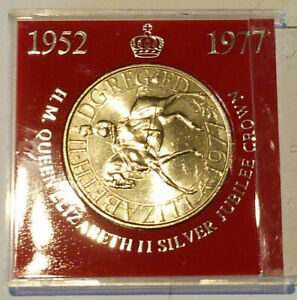 ROYAL MINT 1977 QUEENS SILVER JUBILEE CUNI CROWN IN RED UNBRANDED CASE