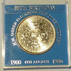 ROYAL MINT 1980 QUEEN MOTHER BIRTHDAY CUNI CROWN IN BLUE UNBRANDED CASE