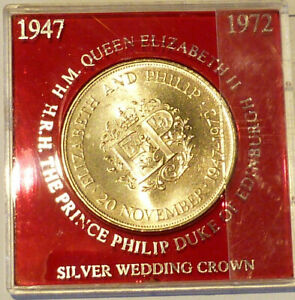 ROYAL MINT 1972 QUEENS SILVER WEDDING CUNI CROWN IN RED UNBRANDED CASE