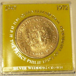 ROYAL MINT 1972 QUEENS SILVER WEDDING CUNI CROWN IN YELLOW UNBRANDED CASE