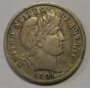1901 S SILVER BARBER DIME GRADING FINE NICE UNCLEANED COIN  IN VF   S97