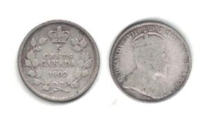 1902 CANADA 5 CENT SILVER COIN IN CIRCULATED CONDITION    A 1 YEAR TYPE