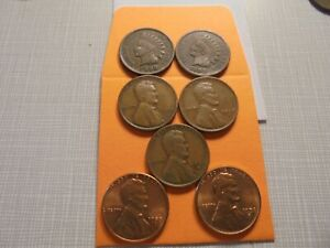 7  COIN LOT  BU 1958 P&D VG  1938 PDS WHEAT CENTS  VG 1908 1898 IH.CENTSOR777