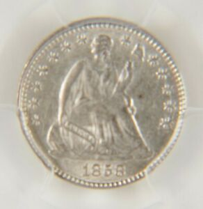 1858 HALF DIME PCGS AU55 LIBERTY SEATED GRADED IN HOLDER NICE COIN