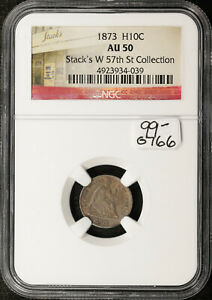 1873 SEATED LIBERTY HALF DIME.  IN NGC HOLDER.  AU50.  STACKS COLLECTION.  G766