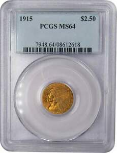 1915 $2.50 INDIAN HEAD GOLD QUARTER EAGLE COIN MS 64 PCGS