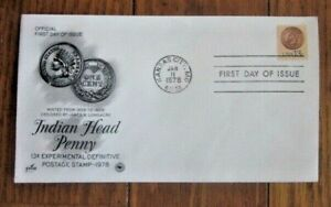INDIAN HEAD PENNY DESIGNED BY JAMES LONGACRE PCS CACHET FDC 1978 UNADDR
