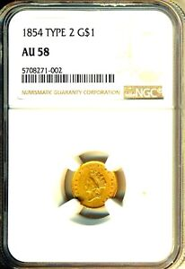 1854 TYPE 2 $1  GOLD  CHOICE AU   NGC AU58  LUSTEROUS    DATE
