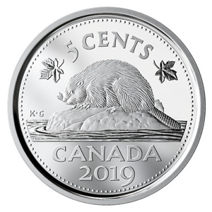2019 CANADA PROOF FIVE CENTS 5 COIN FROM SILVER DOLLAR PROOF SET