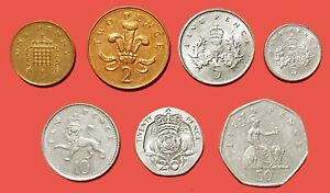 U.K:  CIRCA1970'S QEII. MAKLOUF EFFIGY 7 DIFFERENT COINS 1P   50P JP184