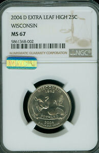 Click now to see the BUY IT NOW Price! 2004 D WISCONSIN STATE QUARTER EXTRA LEAF HIGH NGC MS 67 PQ MAC SPOTLESS